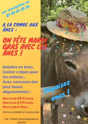 On fête Mardi Gras avec les ânes pendant les vacances de Février!
